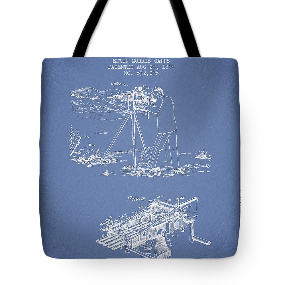 Machine Gun Tote Bag featuring the digital art Capps Machine Gun Patent Drawing From 1899 - Light Blue by Aged Pixel