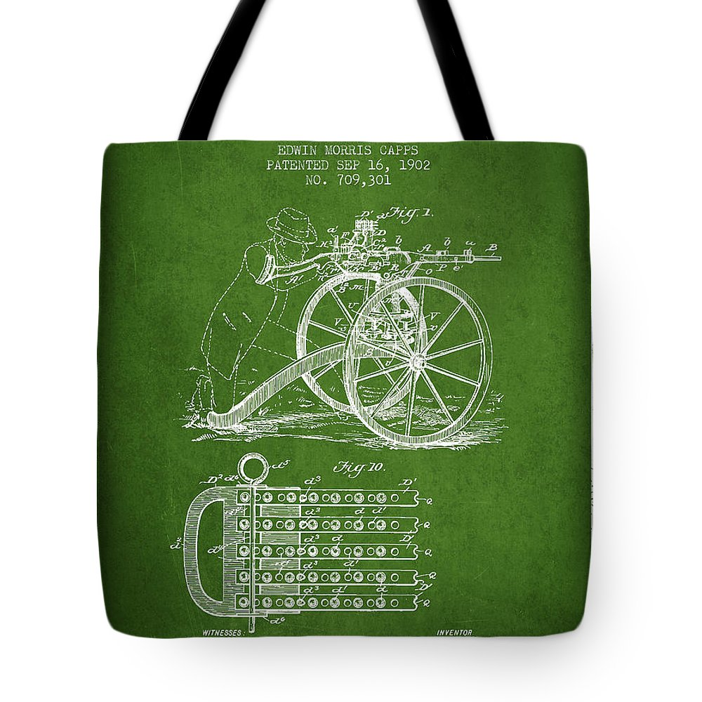 Machine Gun Tote Bag featuring the digital art Capps Machine Gun Patent Drawing From 1902 - Green by Aged Pixel