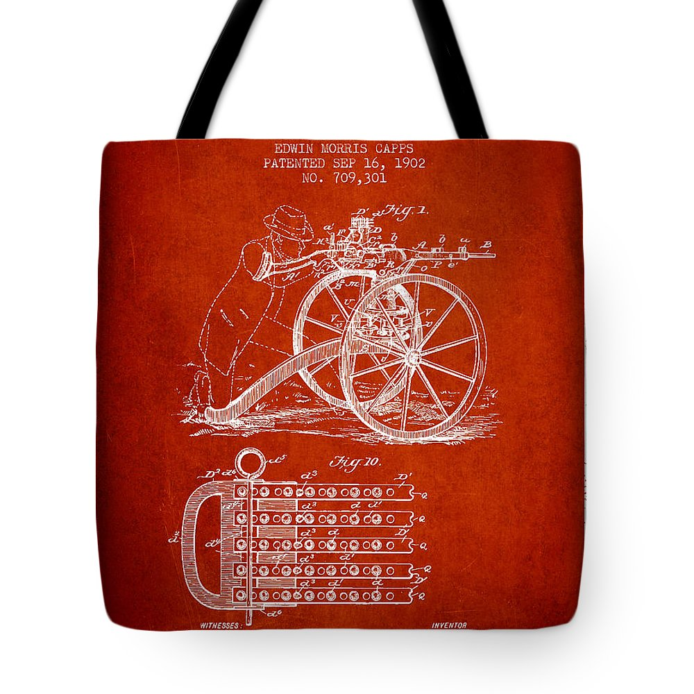 Machine Gun Tote Bag featuring the digital art Capps Machine Gun Patent Drawing From 1902 - Red by Aged Pixel