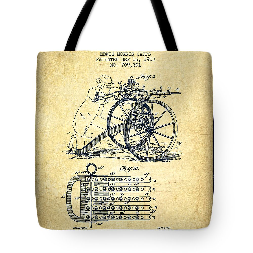 Machine Gun Tote Bag featuring the digital art Capps Machine Gun Patent Drawing From 1902 - Vintage by Aged Pixel