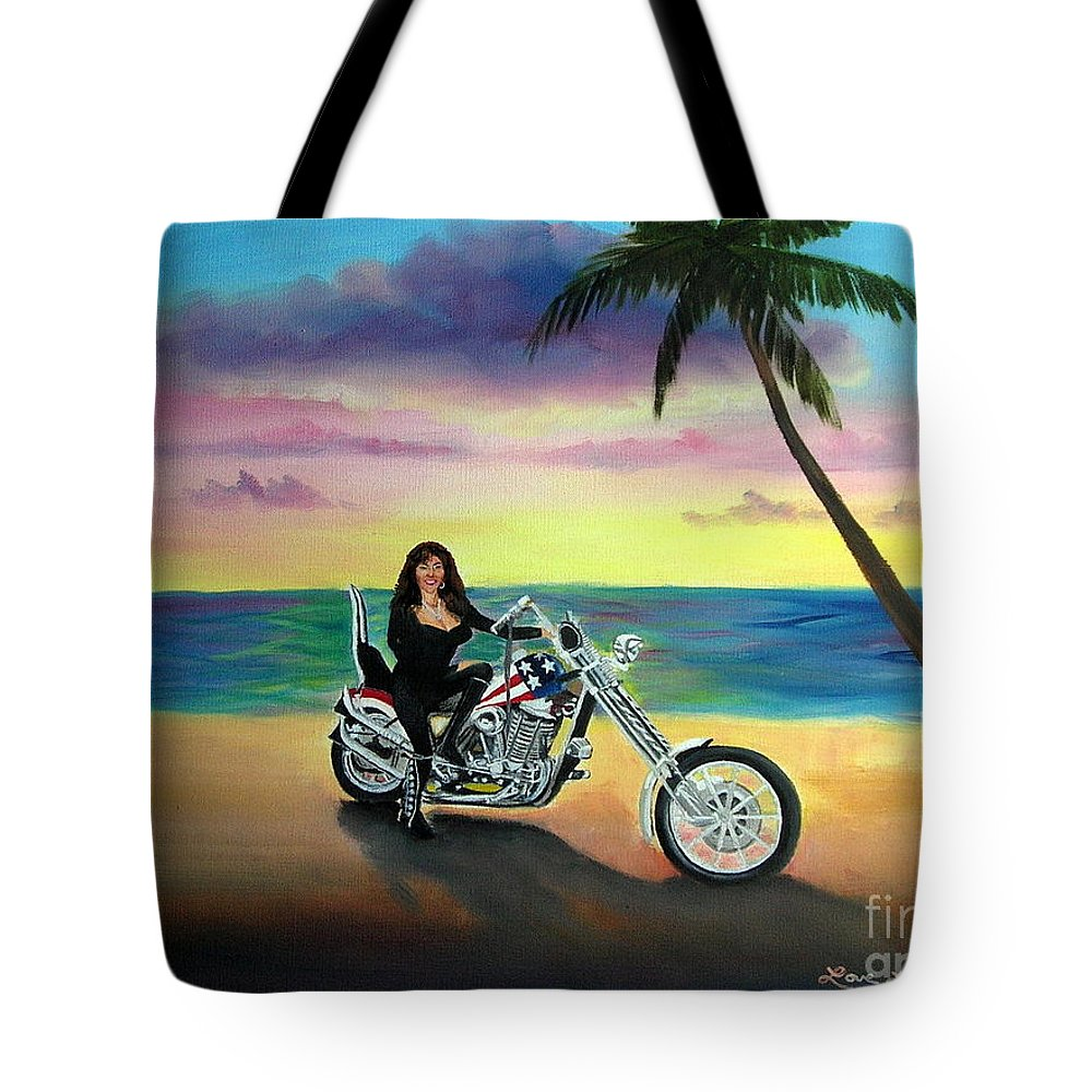 Harley Davidson Tote Bag featuring the painting Captain America by Lora Duguay