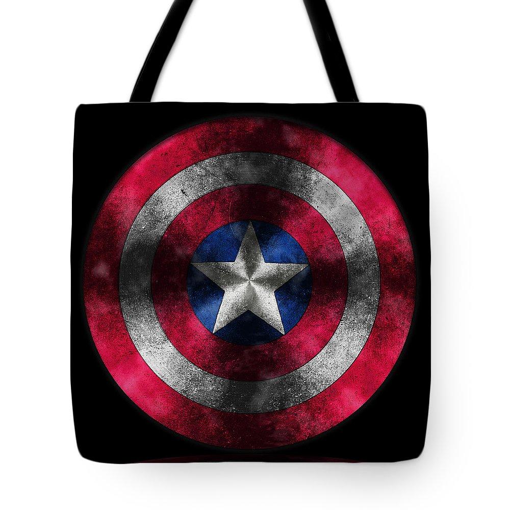 Captain America Movie Tote Bag featuring the painting Captain America Shield by Georgeta Blanaru