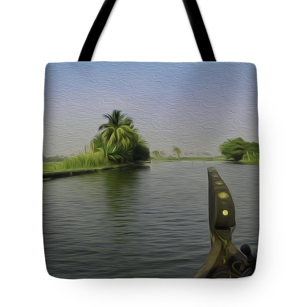 Backwater Tote Bag featuring the digital art Captain Of The Houseboat Surveying Canal by Ashish Agarwal
