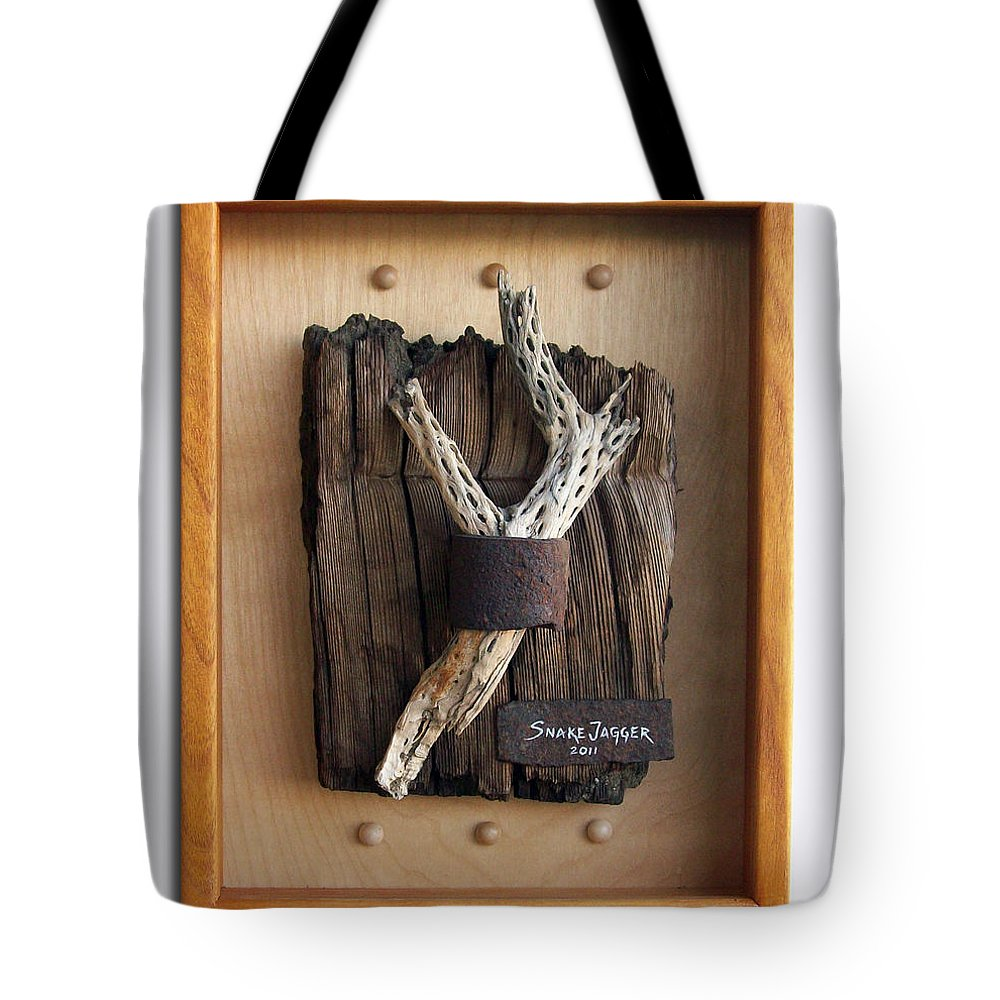 Assemblage Tote Bag featuring the sculpture Captive by Snake Jagger