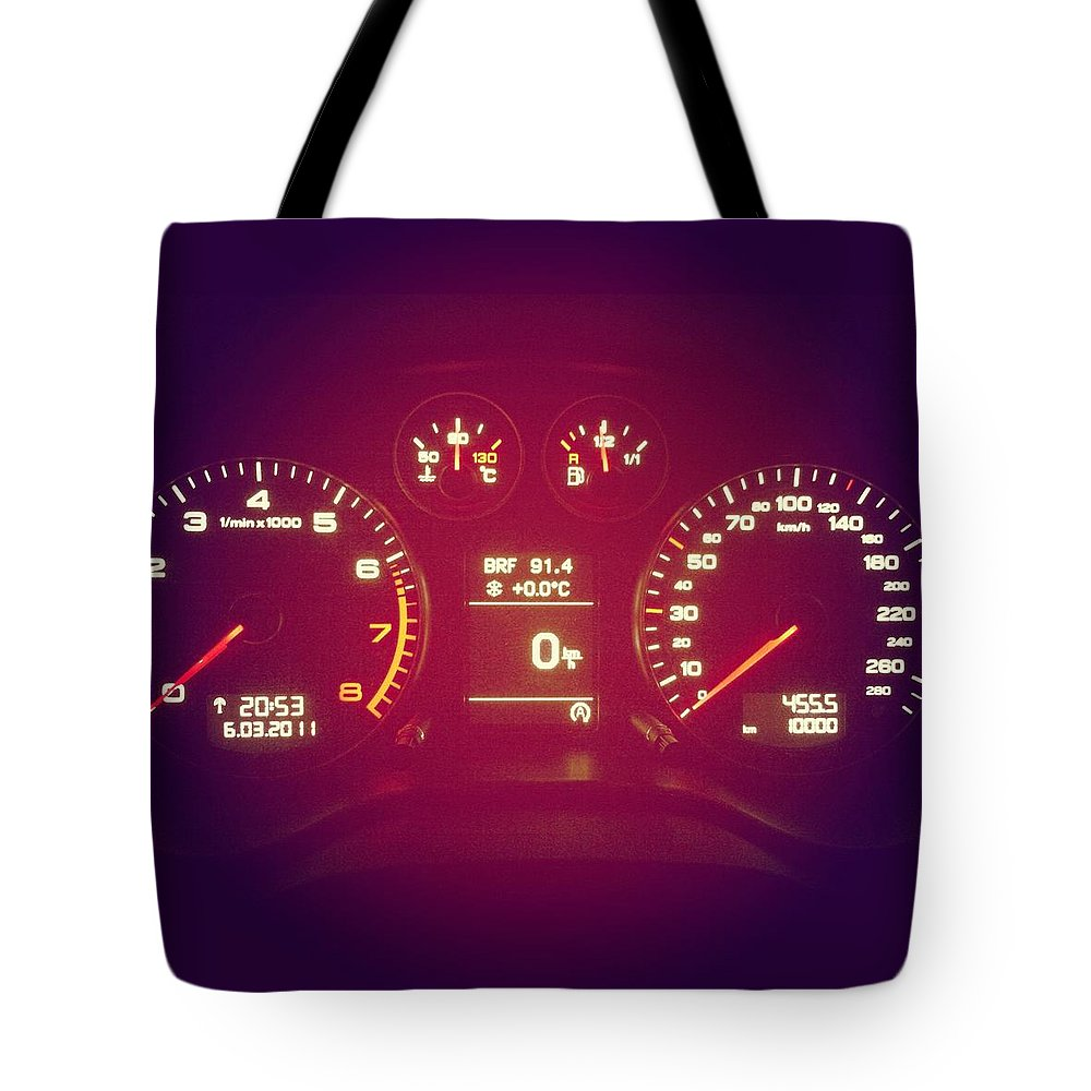 Engine Tote Bag featuring the photograph Car Cockpit With Exactly 10000km by Alvarez