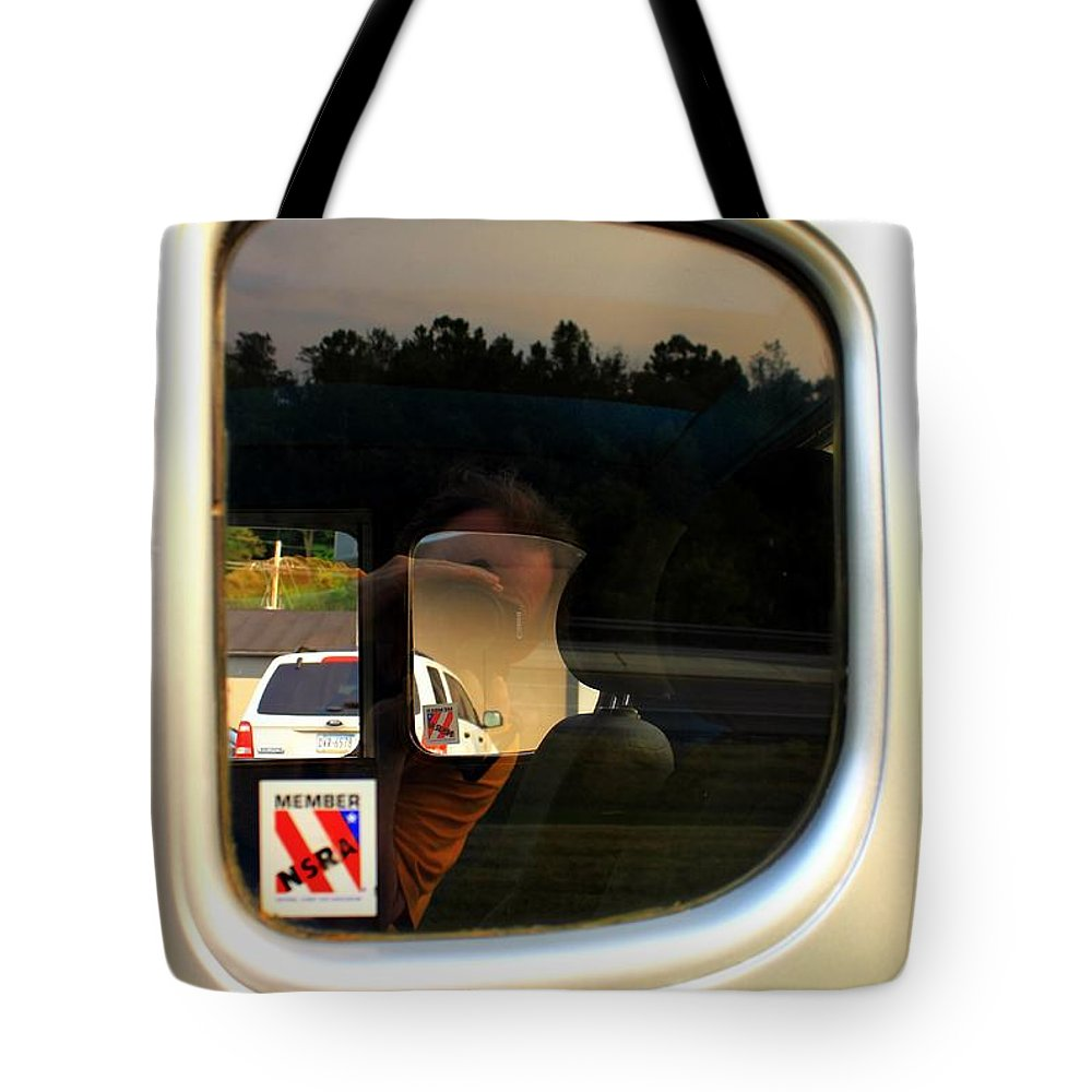 Cars Tote Bag featuring the photograph Car Window Reflection by Karl Rose
