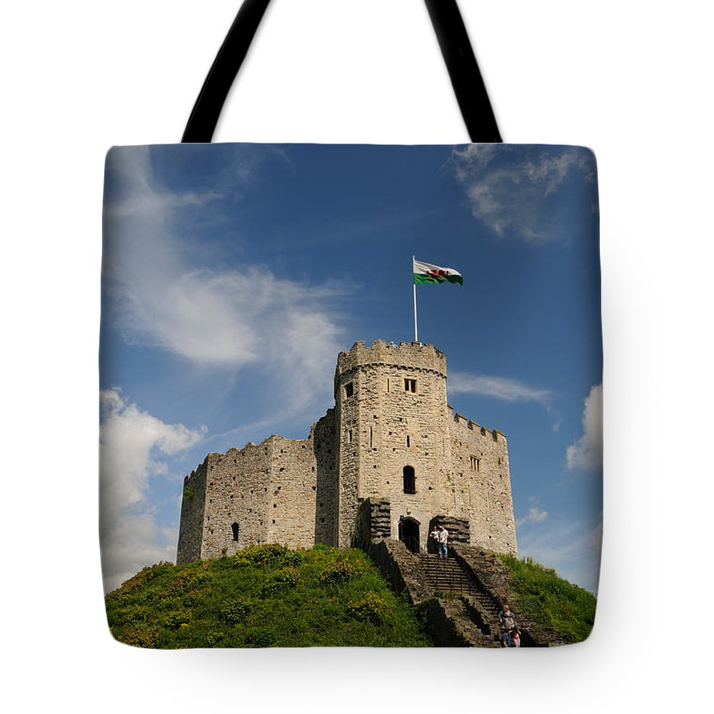 Cardiff Tote Bag featuring the photograph Cardiff Castle Keep by Jeremy Voisey