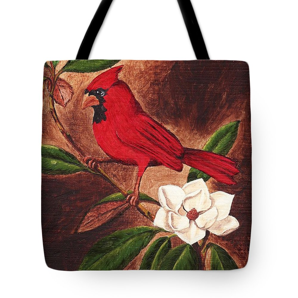 Birds Tote Bag featuring the painting Cardinal II by Brandy House