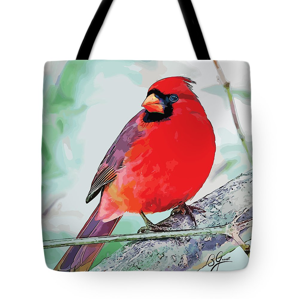 Cardinal Tote Bag featuring the digital art Cardinal In Ice Tree by Bonnie Griest