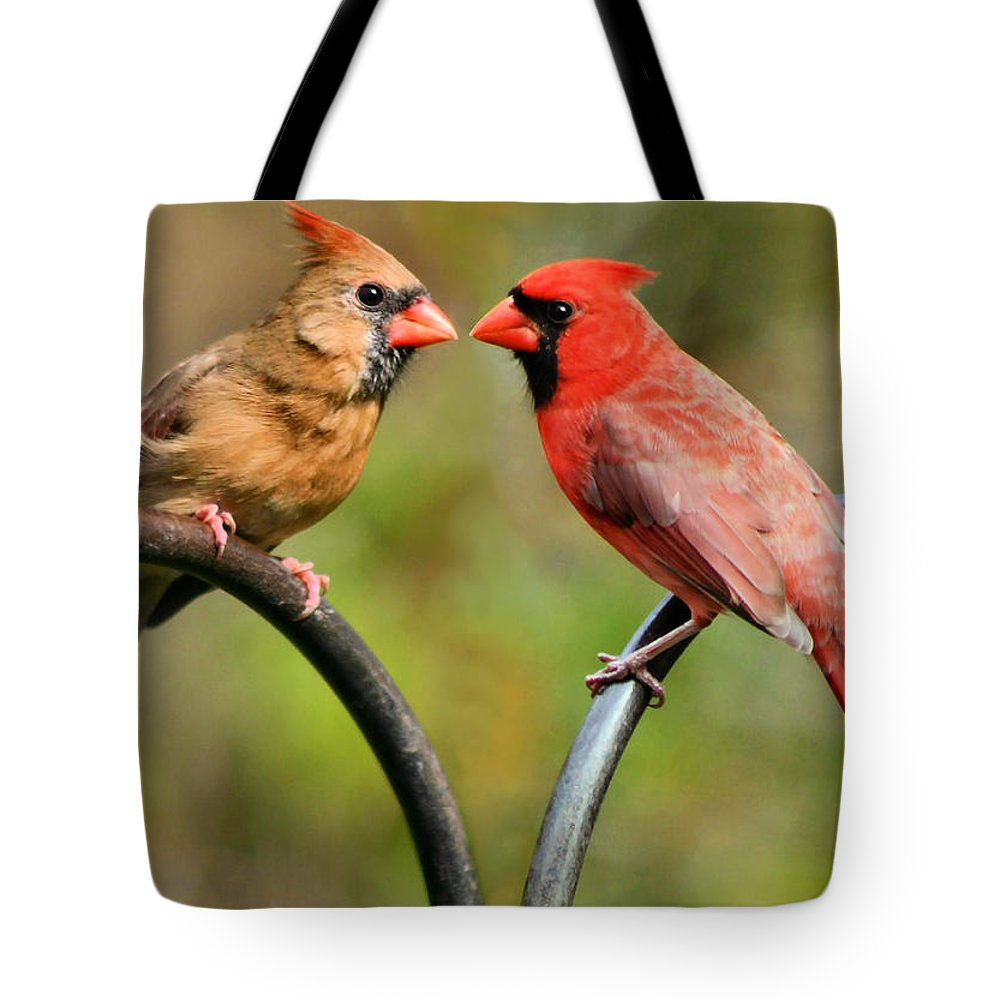 Cardinalis Tote Bag featuring the photograph Cardinal Love by Kristin Elmquist