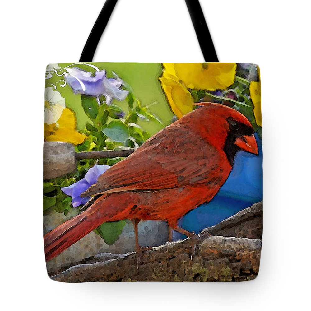 Nature Tote Bag featuring the digital art Cardinal With Pansies And Decorations Photoart by Debbie Portwood