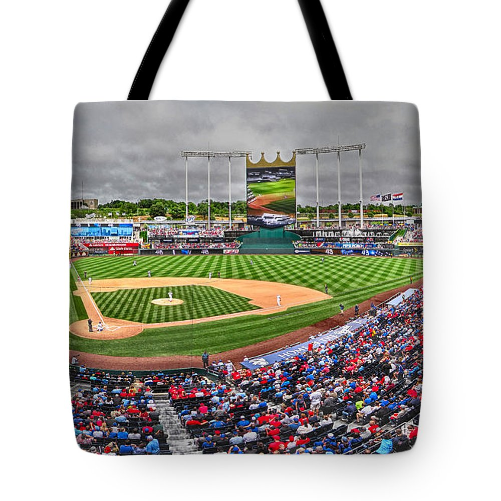 Baseball Tote Bag featuring the photograph Cardinals At The K by C H Apperson