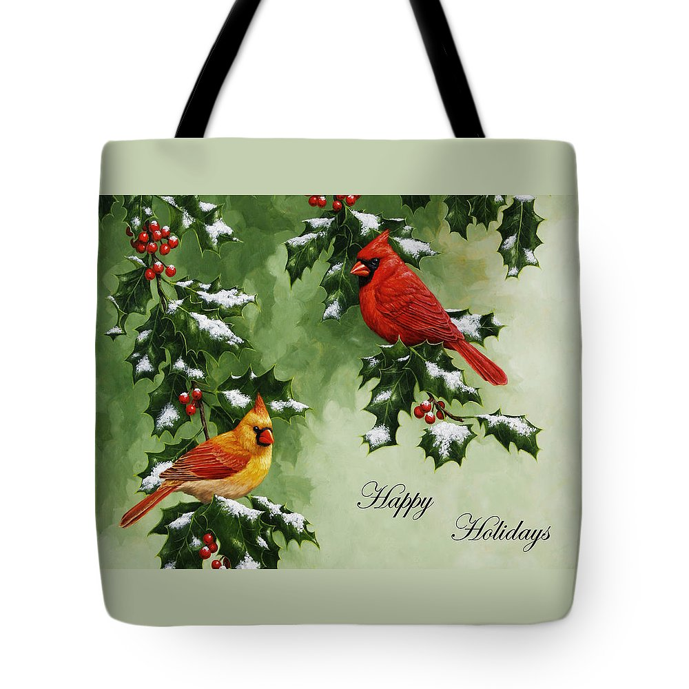Birds Tote Bag featuring the painting Cardinals Holiday Card - Version With  Snow by Crista Forest 210883ae5ce8c