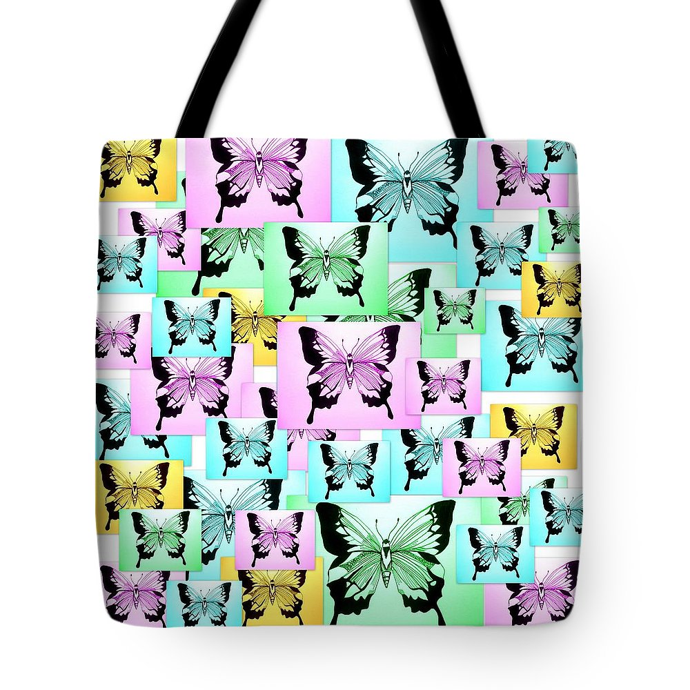 Pink Tote Bag featuring the digital art Carefree Butterflies by Cathy Jacobs