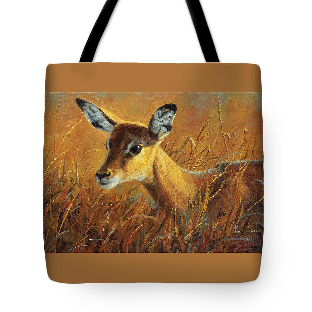 Africa Tote Bag featuring the painting Careful by Lucie Bilodeau