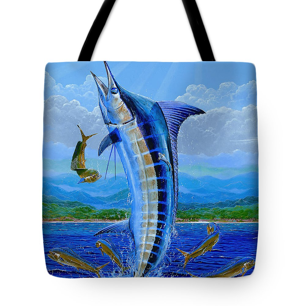 Blue Marlin Tote Bag featuring the painting Caribbean Blue Off0041 by Carey Chen