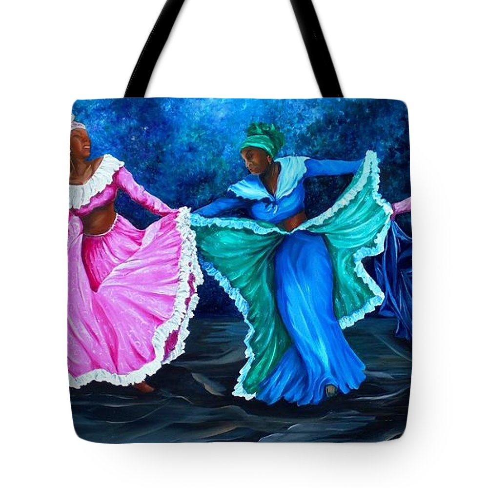 Caribbean Dance Tote Bag featuring the painting Caribbean Folk Dancers by Karin Dawn Kelshall- Best