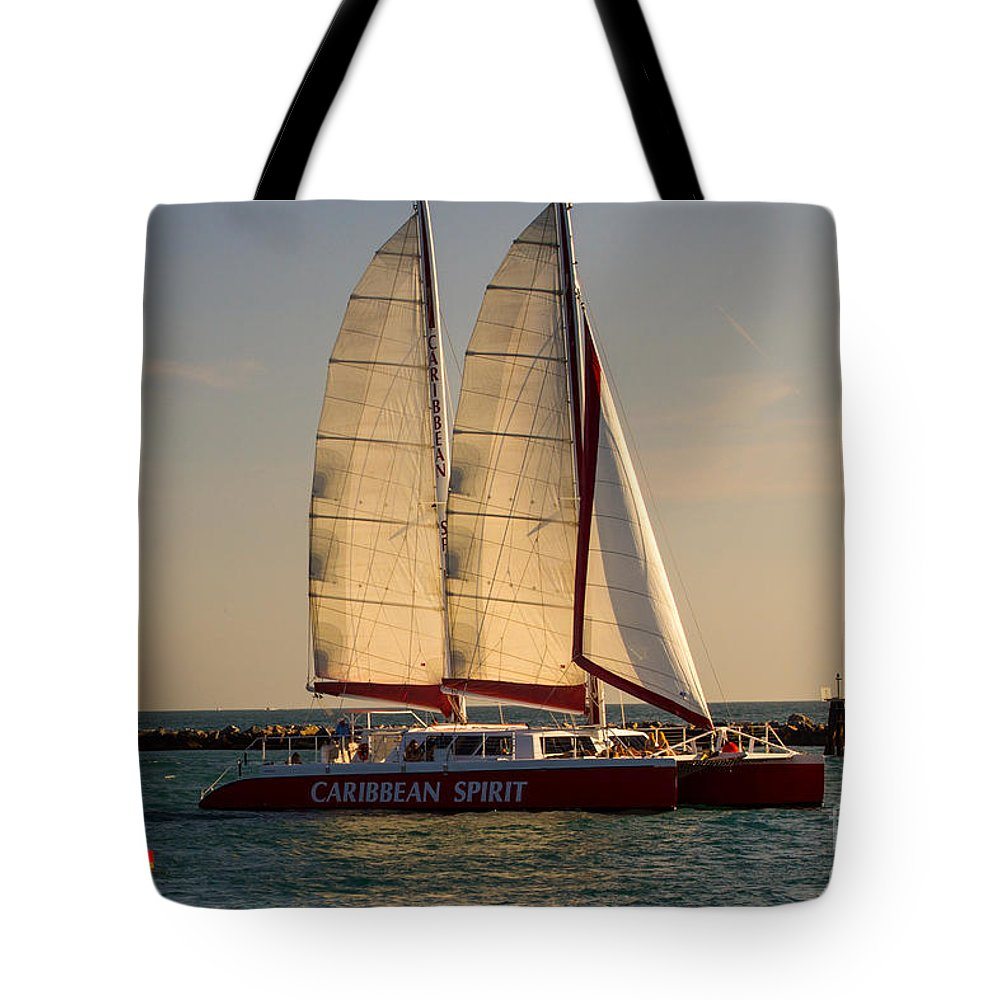 Caribbean Spirit Tote Bag featuring the photograph Caribbean Spirit Sails Miami by Rene Triay Photography