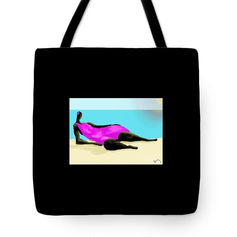 Seashore Tote Bag featuring the digital art Caribbean Woman by Cecily Mitchell