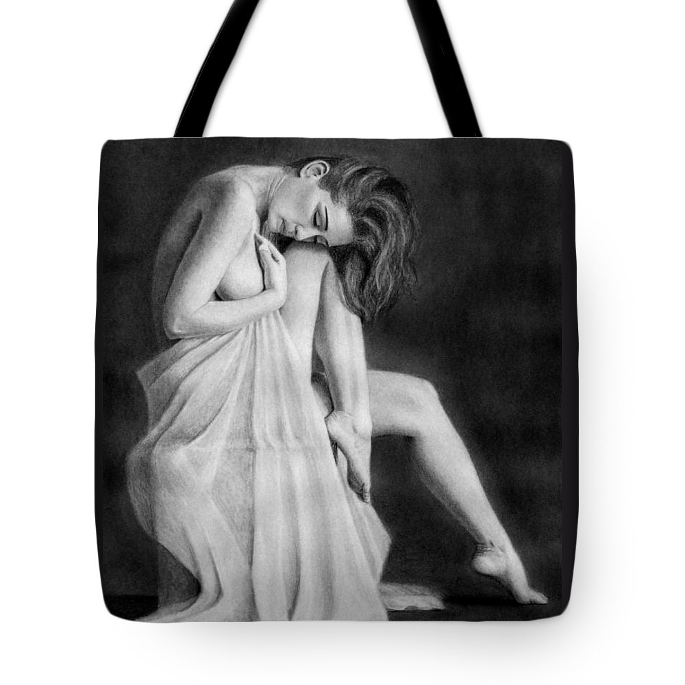 Joe Ogle Tote Bag featuring the drawing Carly by Joseph Ogle