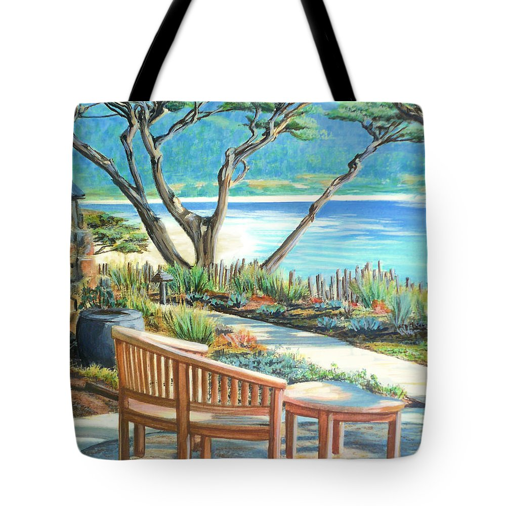 Carmel Tote Bag featuring the painting Carmel Lagoon View by Jane Girardot