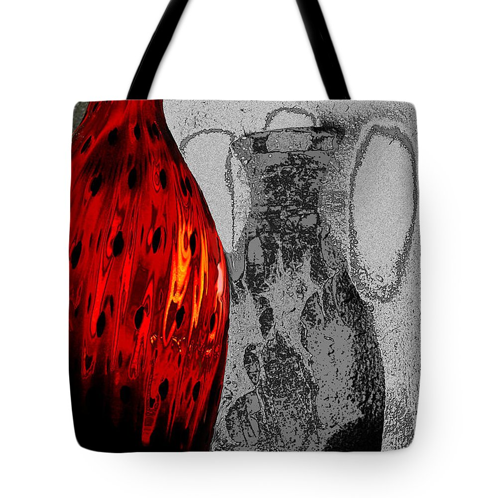 Abstract Tote Bag featuring the photograph Carmellas Red Vase 2 by Kate Word