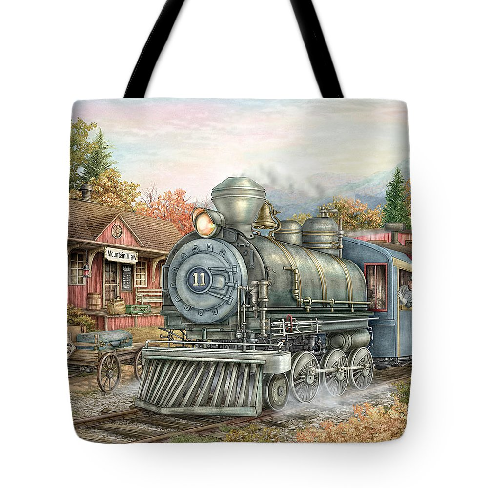 Train Tote Bag featuring the painting Carolina Morning Train by Beverly Levi-Parker