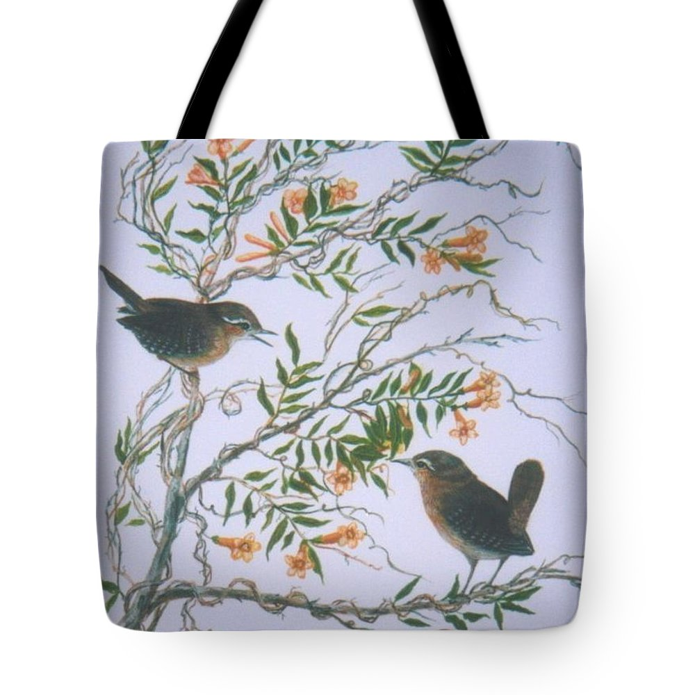 Bird; Flowers Tote Bag featuring the painting Carolina Wren And Jasmine by Ben Kiger