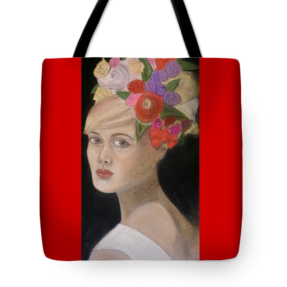 Portrait Tote Bag featuring the painting Caroline by C Pichura