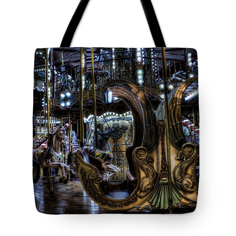 Arch Tote Bag featuring the photograph Carousel At Night by Evie Carrier