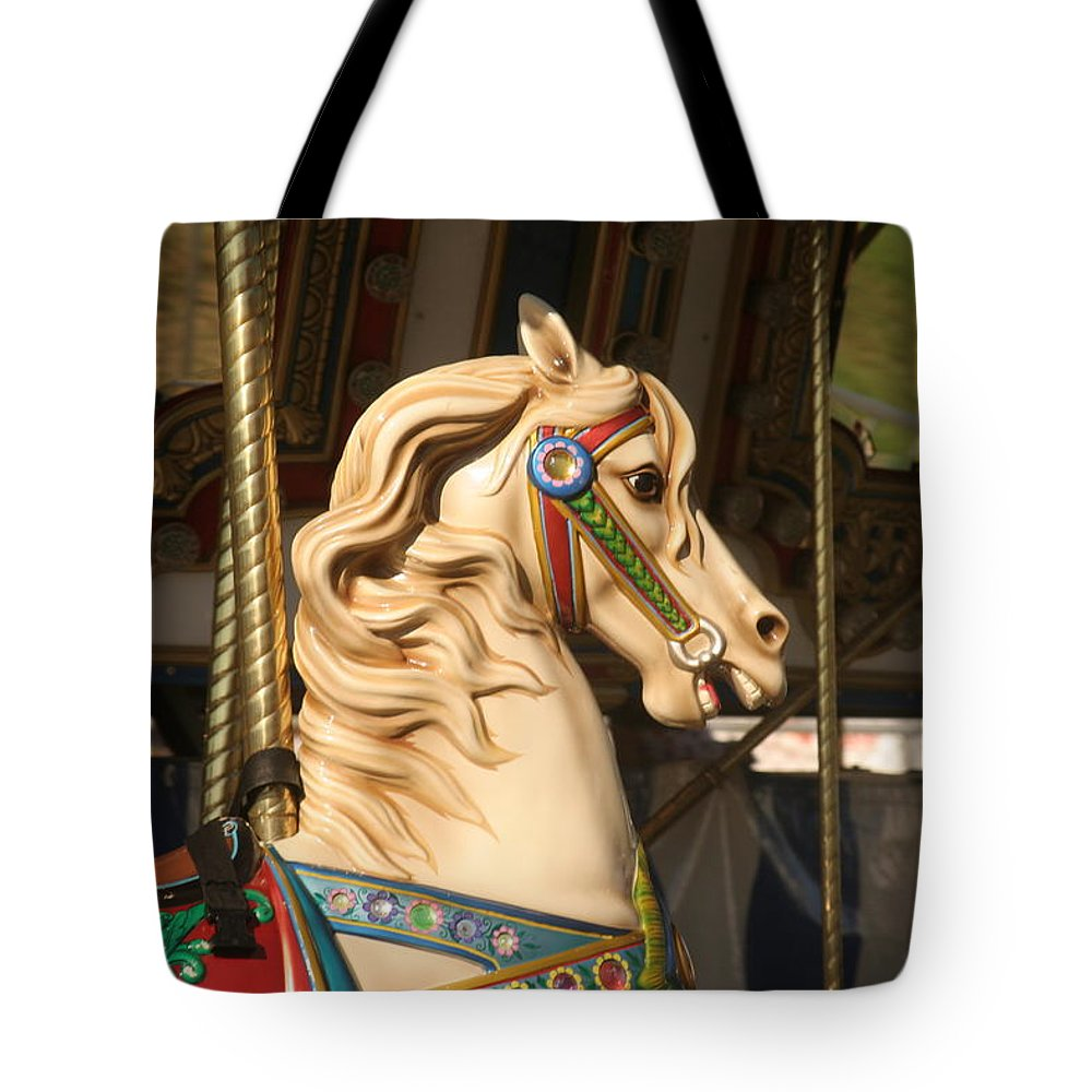 Horse Tote Bag featuring the photograph Carousel Dreams by Liz Marr
