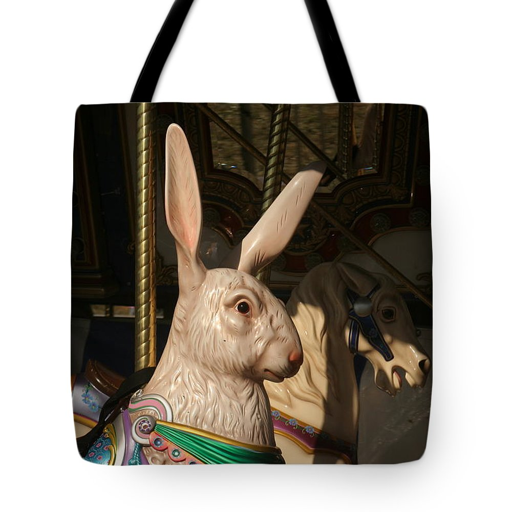 Hare Tote Bag featuring the photograph Carousel Hare by Liz Marr