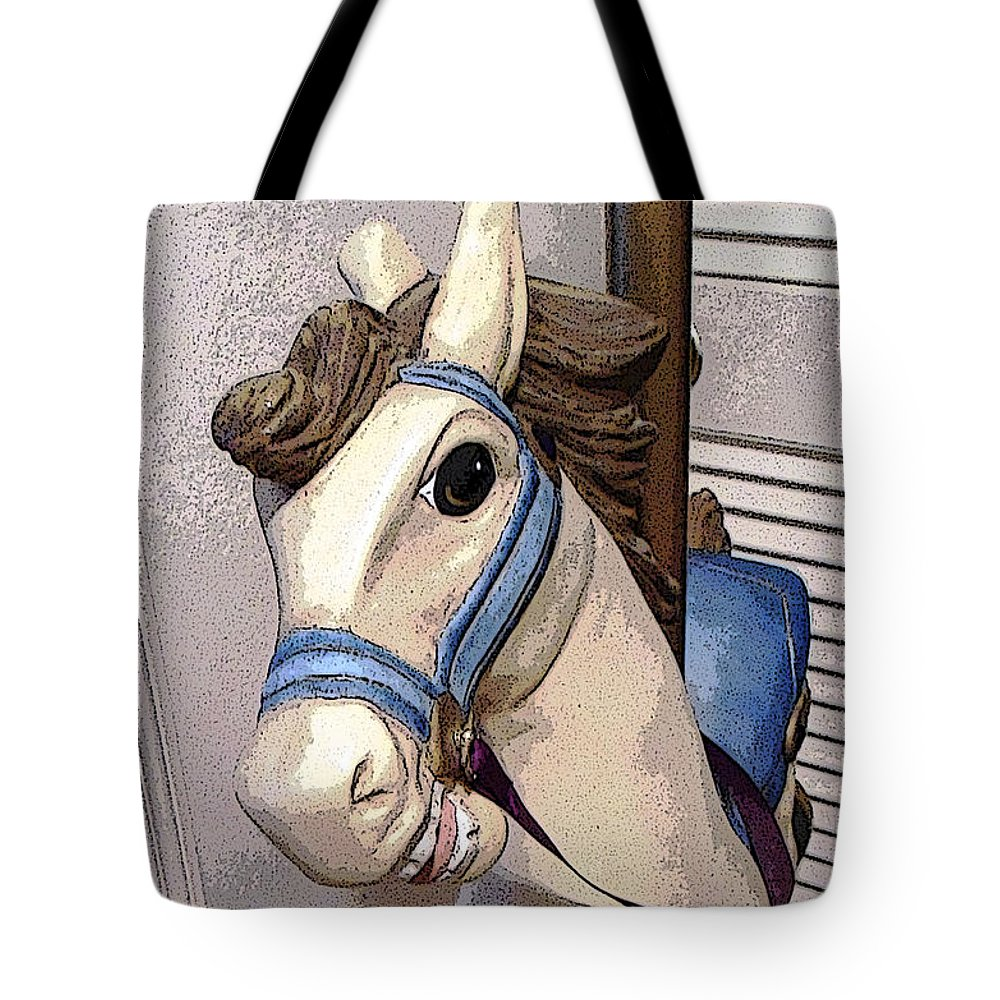 Horse Tote Bag featuring the digital art Carousel Horse by Lovina Wright