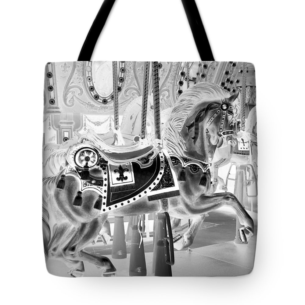 Carousel Tote Bag featuring the photograph Carousel In Negative 3 by Rob Hans