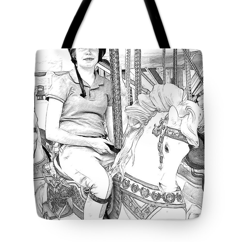 Carousel Tote Bag featuring the photograph Carousel Rider by Alice Gipson