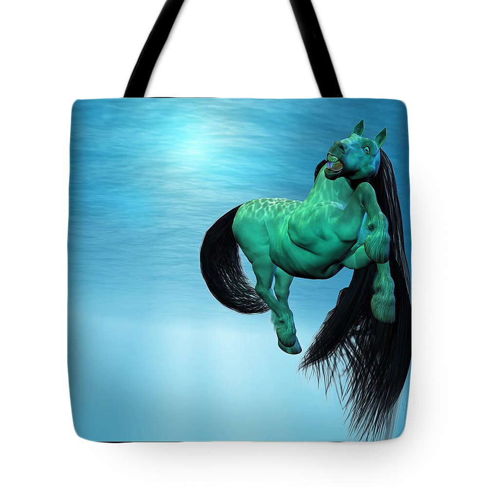 Horse Tote Bag featuring the digital art Carousel Vii by Betsy Knapp