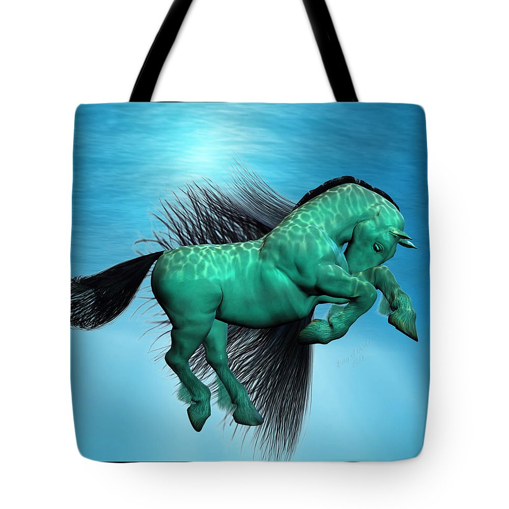 Horse Tote Bag featuring the digital art Carousel X by Betsy Knapp
