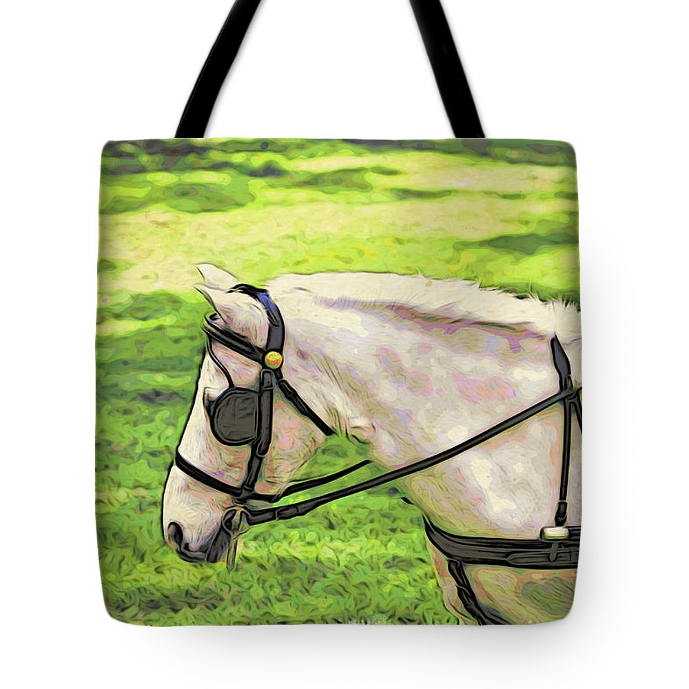 Pony Tote Bag featuring the photograph Carriage Pony by Alice Gipson