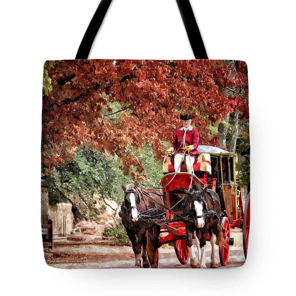 Carriage Tote Bag featuring the painting Carriage Ride by Shari Nees