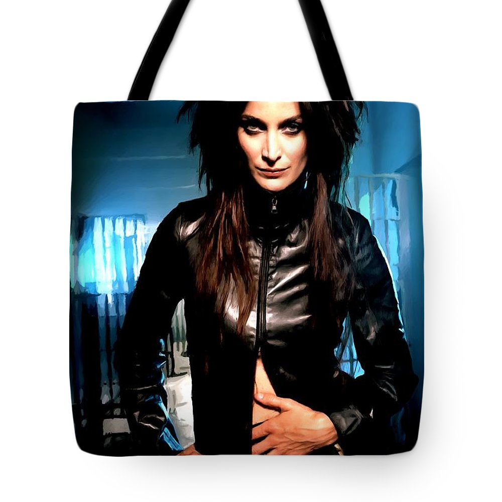 Actress Tote Bag featuring the digital art Carrie-Anne Moss by Gabriel T Toro