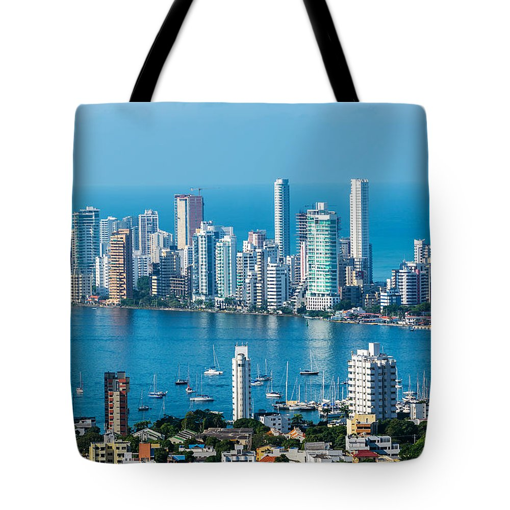 Colombia Tote Bag featuring the photograph Cartagena Skyscapers by Jess Kraft