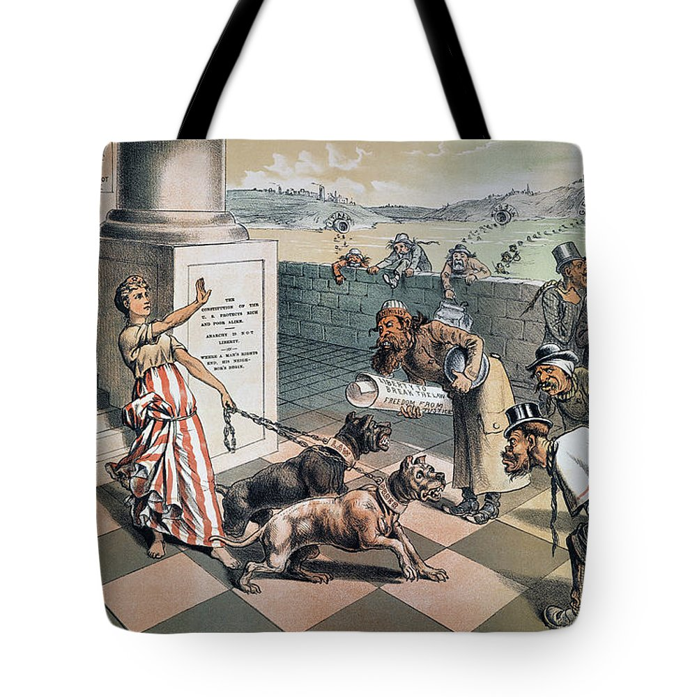 1885 Tote Bag featuring the painting Cartoon Immigration, 1885 by Granger