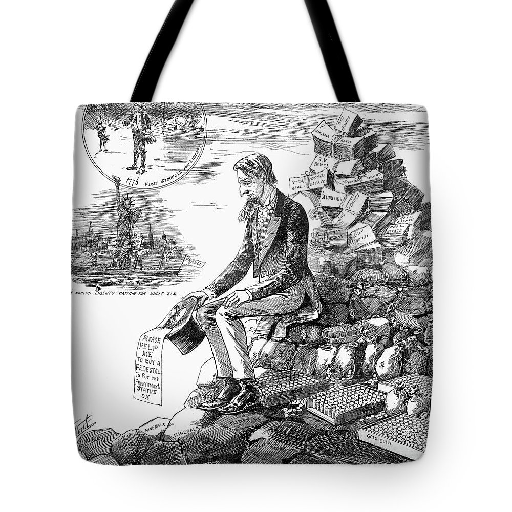 1884 Tote Bag featuring the painting Cartoon Statue Of Liberty by Granger