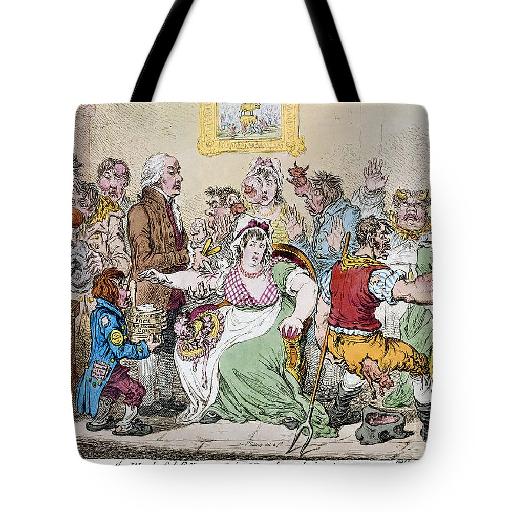 1802 Tote Bag featuring the photograph Cartoon: Vaccination, 1802 by Granger