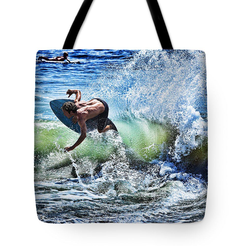 Surf Tote Bag featuring the photograph Carving by Kelley King