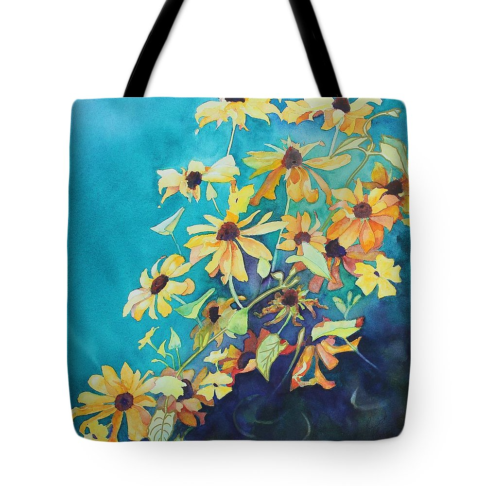 Black Eyed Susans Tote Bag featuring the painting Cascade by Ruth Kamenev