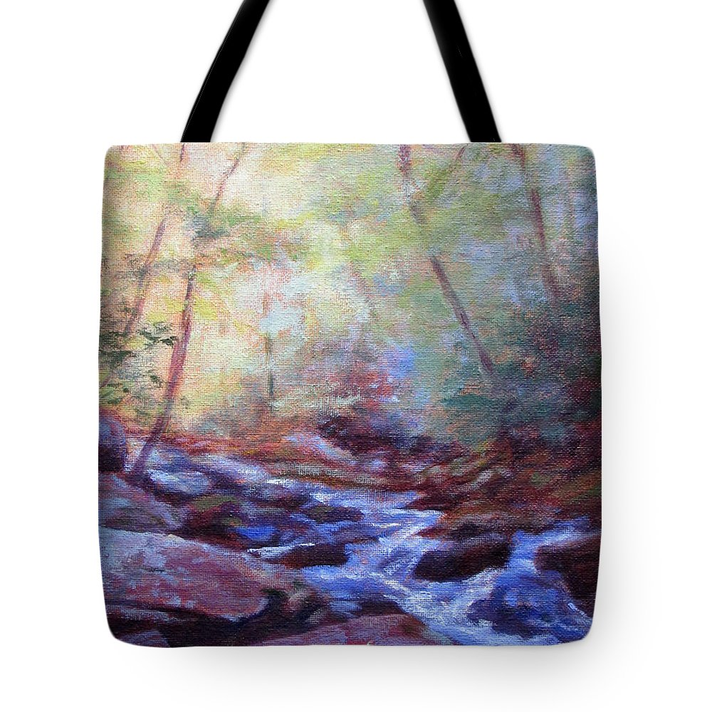Waterfall Tote Bag featuring the painting Cascading by Bonnie Mason