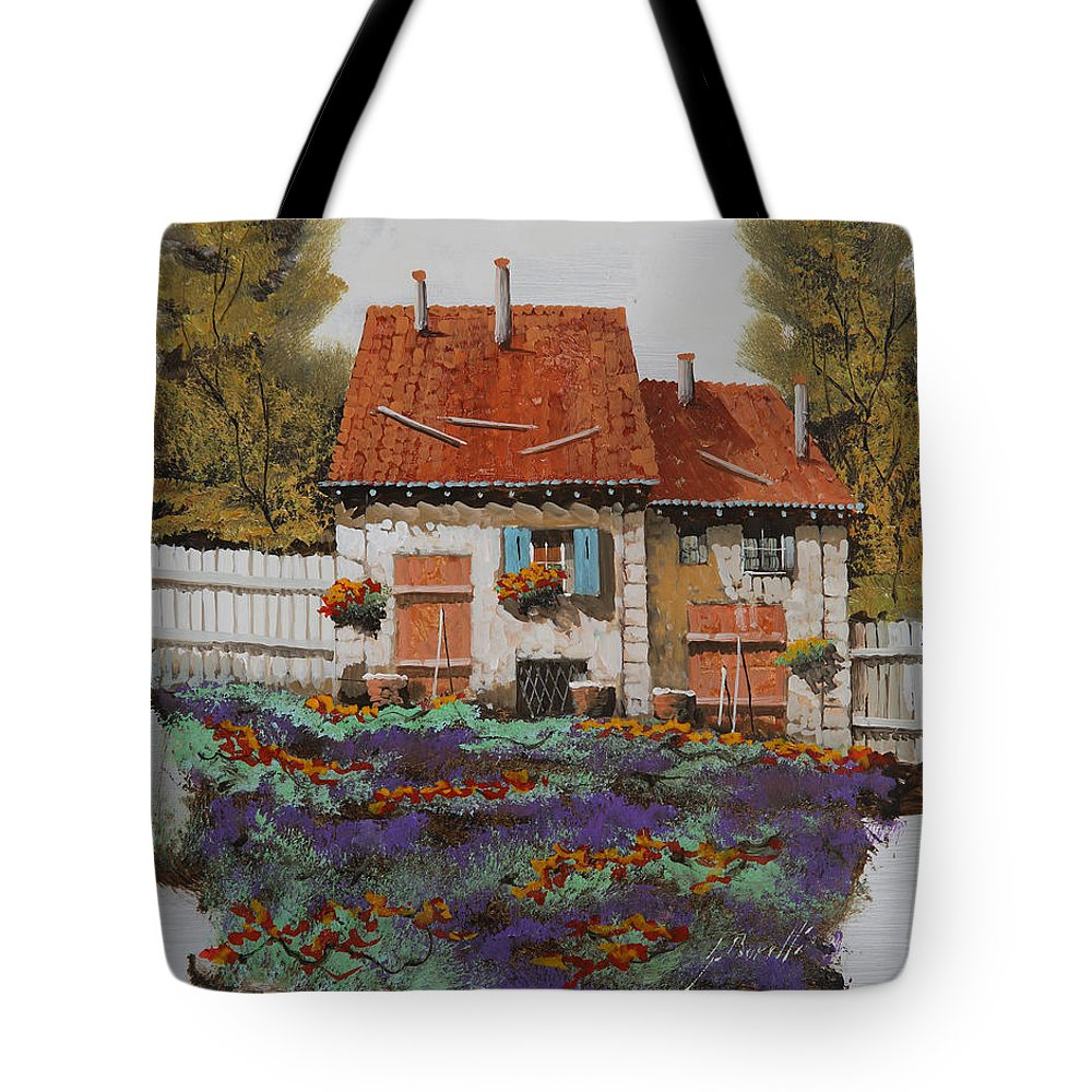 Country House Tote Bag featuring the painting Case E Lavande by Guido Borelli