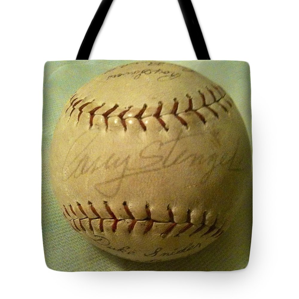 Spring Training Tote Bag featuring the photograph Casey Stengel Baseball Autograph by Lois Ivancin Tavaf