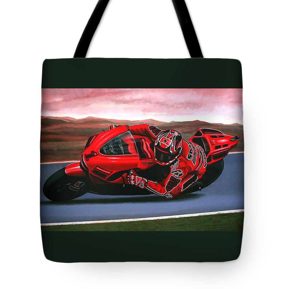 Casey Stoner On Ducati Tote Bag featuring the painting Casey Stoner On Ducati by Paul Meijering